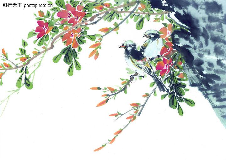 枝头飞乌,中国国画,树枝 枝头 留白,枝头飞乌0017
