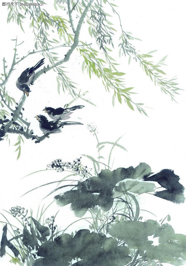 柳树水墨画幼儿图片