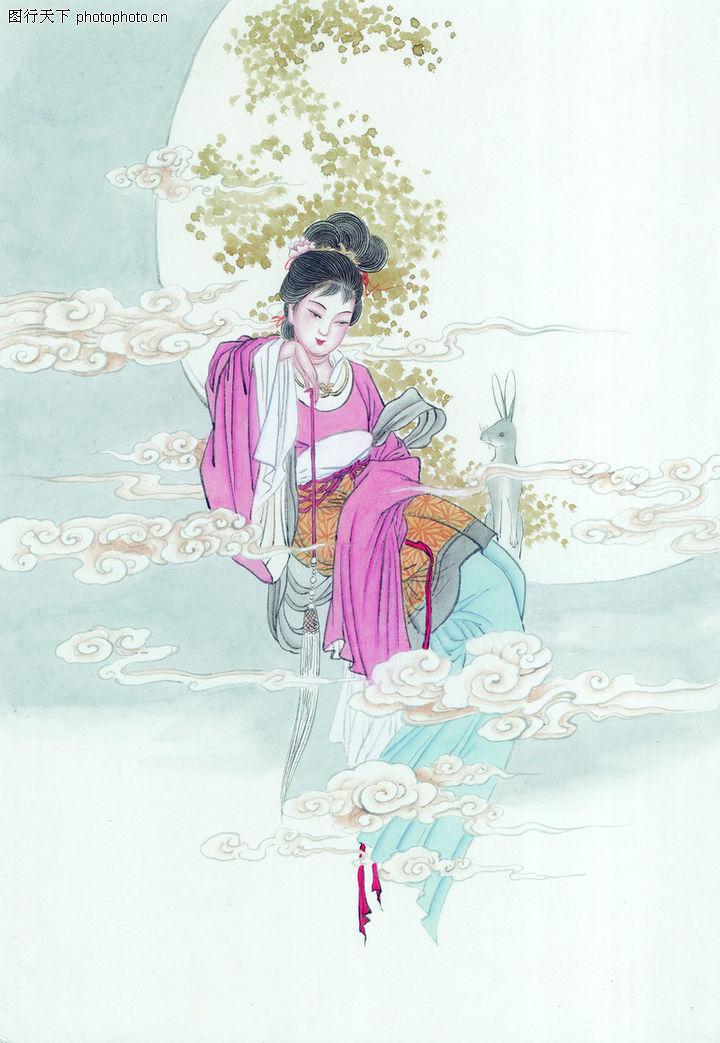 窈窕淑女,中国国画,美女 形象 嫦娥 嫦娥奔月 仙女,窈窕淑女0001