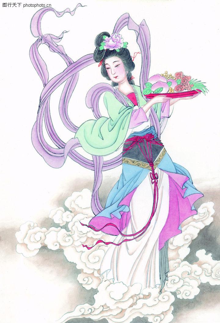 窈窕淑女,中国国画,舞蹈 优雅 古典 古典美女 舞姿,窈窕淑女0002