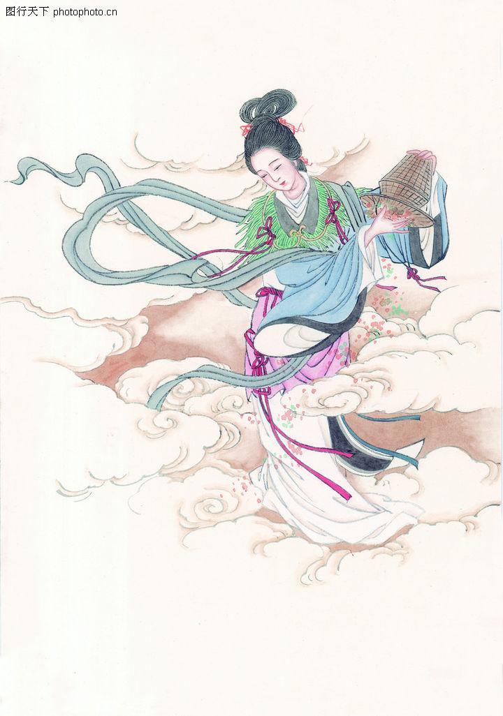 窈窕淑女,中国国画,嫦娥 仙女 飞舞,窈窕淑女0021