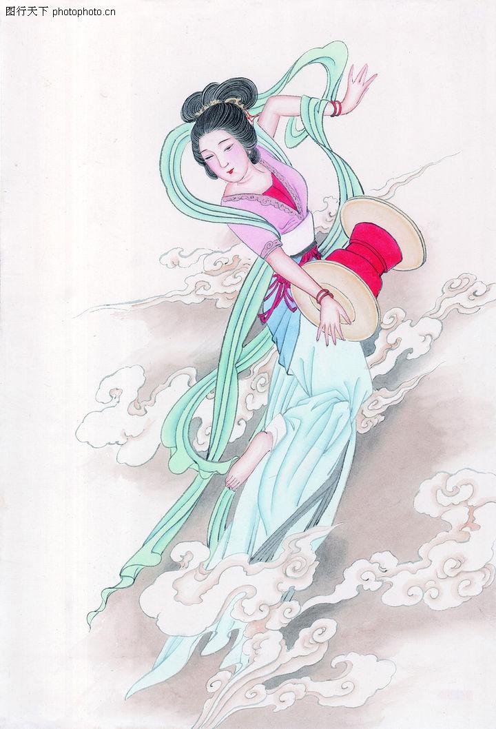 窈窕淑女,中国国画,淑女 妖娆 云彩,窈窕淑女0032