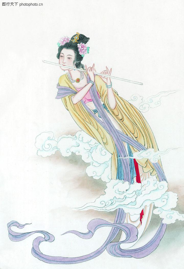 窈窕淑女,中国国画,乐器 笛子 古代美女,窈窕淑女0035