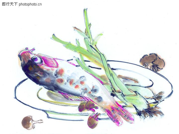 蔬果鲜鱼,中国国画,碟子 熟食 蒸鱼,蔬果鲜鱼0040