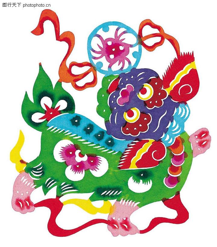 中华剪纸,中国民间艺术,舞狮 红丝带,中华剪纸0104