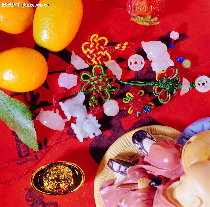 中国结0077 中国结图 中国民间艺术图库 饰品 散落 红布