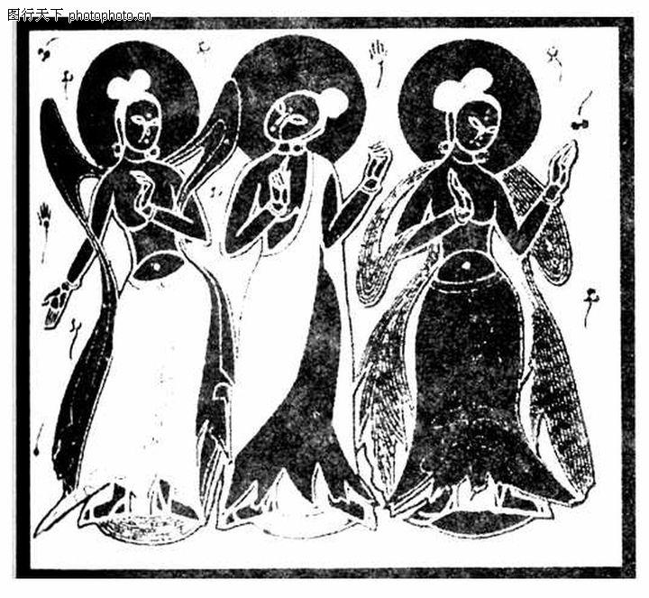 人物花纹; 三个姿势不; 人物古版画32
