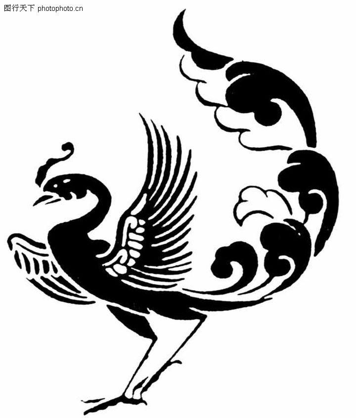 凤凰黑白装饰画步骤