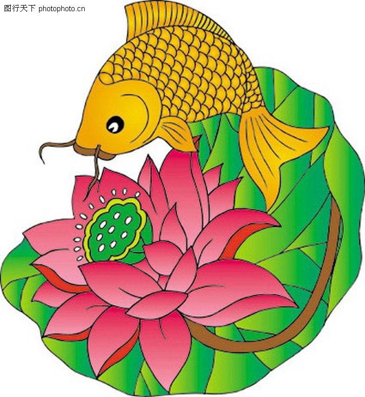 吉祥动物 中国民间艺术 金鱼 荷花 跳跃