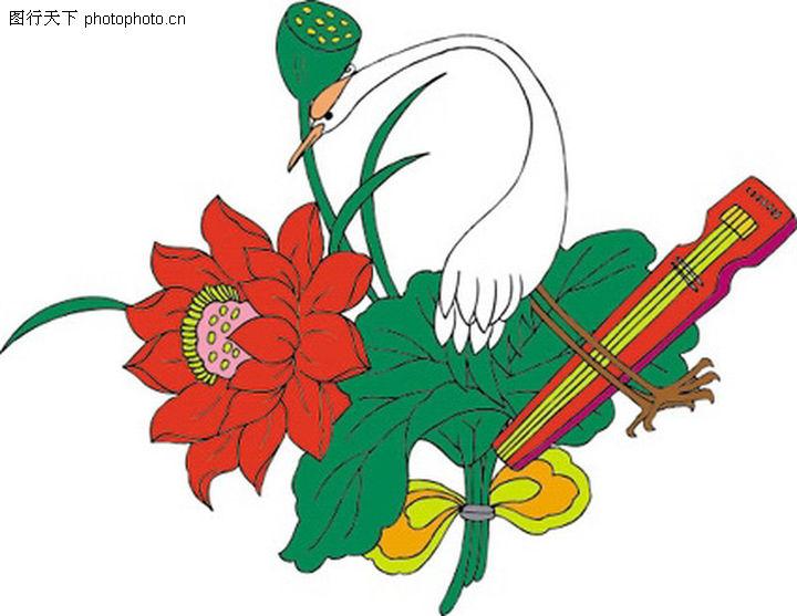 吉祥动物,中国民间艺术,仙鹤 琴弦 花朵,吉祥动物0100