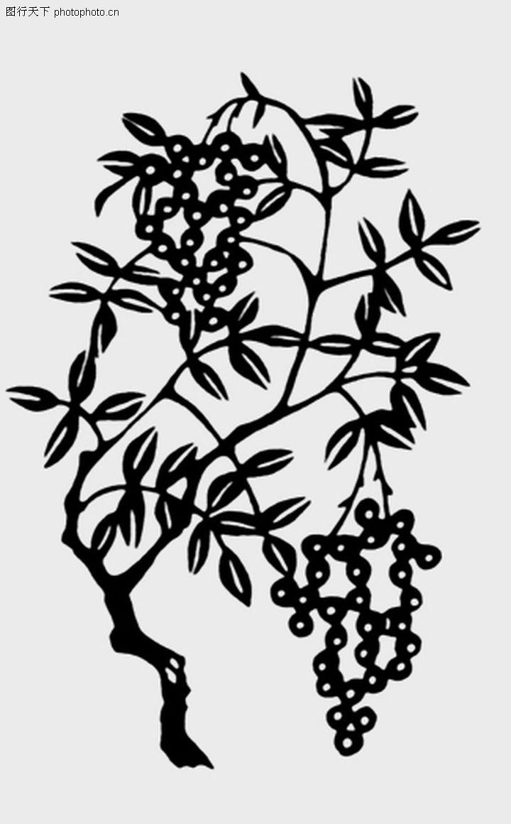 植物图案花纹,中国民间艺术,果树 挂果 繁茂,植物图案花纹0174