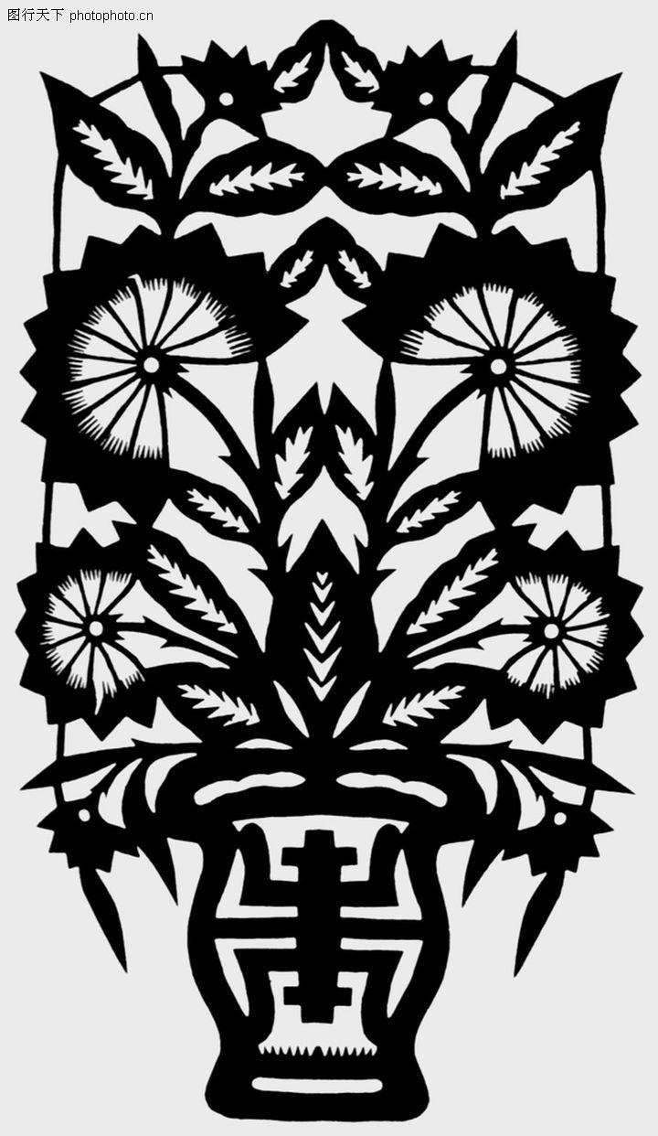 植物图案花纹,中国民间艺术,盆景,植物图案花纹0186