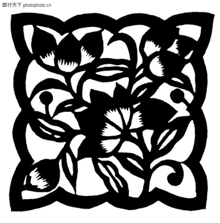 植物图案花纹,中国民间艺术,剪纸状图案,植物图案花纹0243