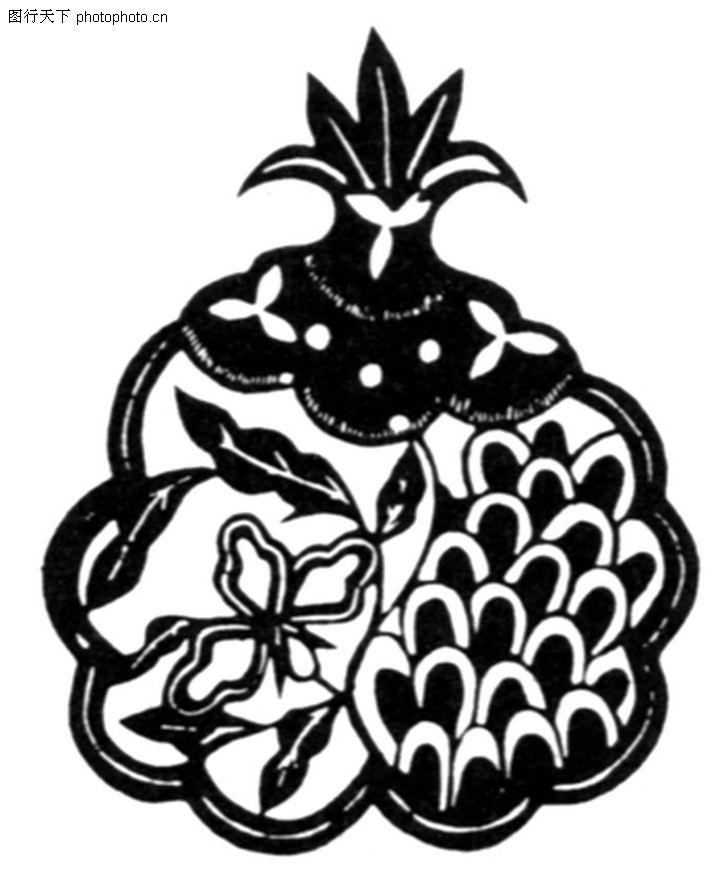 植物图案花纹,中国民间艺术,菠萝 简化 弧线,植物图案花纹0274