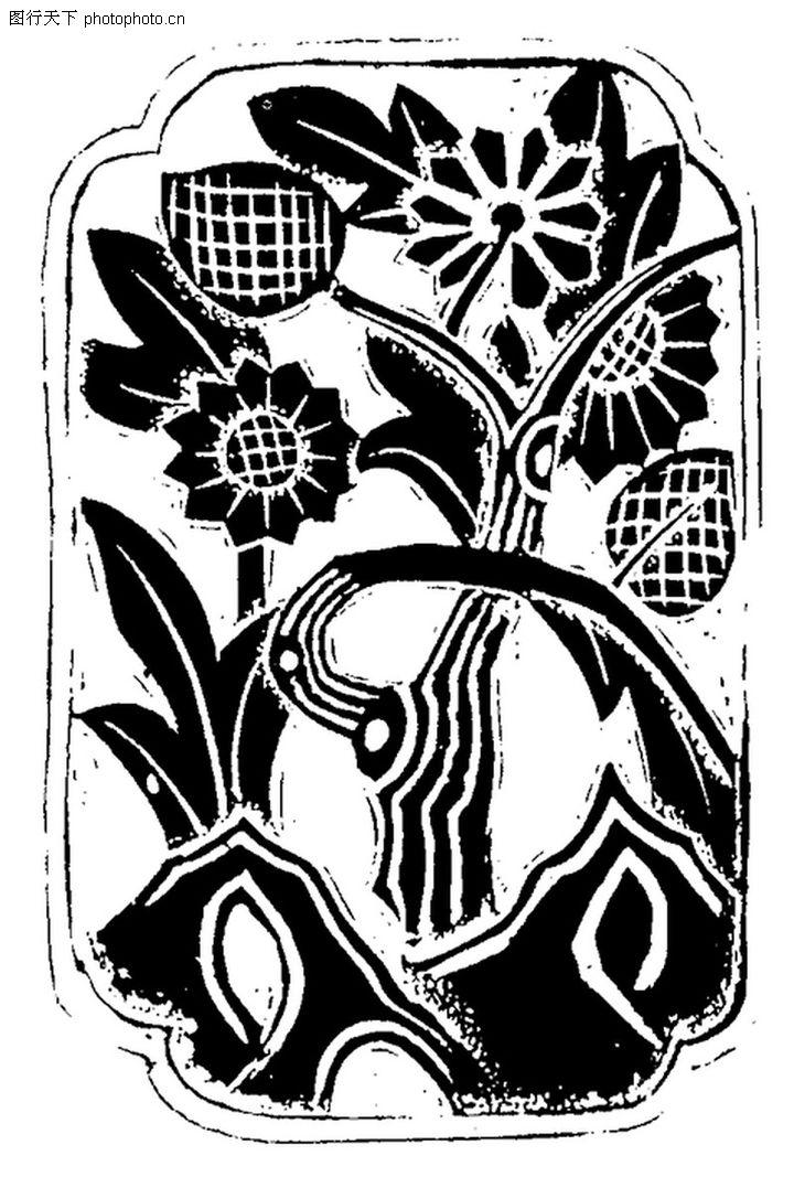 植物图案花纹0343;; 黑白传统花卉花纹图案;