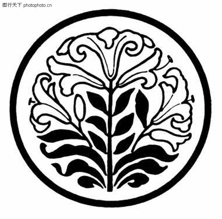 现代图案花纹 中国民间艺术 一根枝条 花朵 单层花瓣 圆 边框