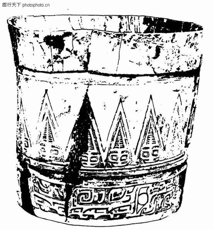 龙纹,中国民间艺术,木桶 回纹 拼合,龙纹0273