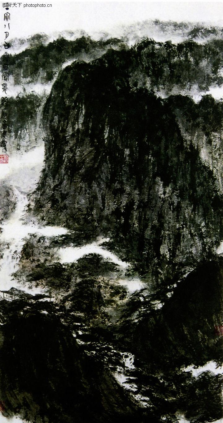 黑色水墨风景封面背景