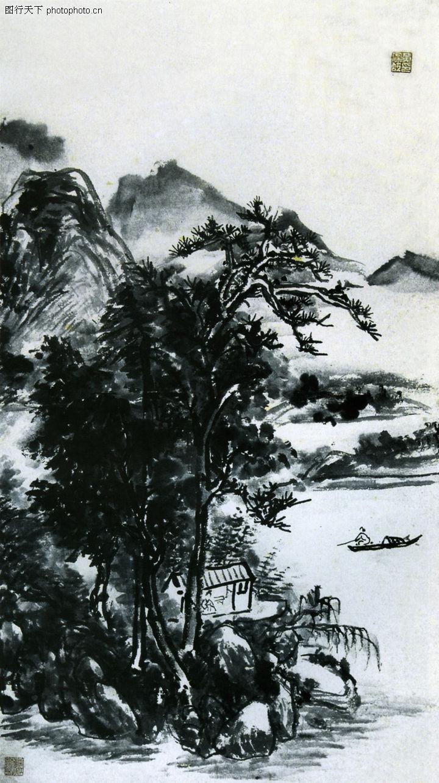 水墨山水轴 黄宾虹图 中国近代大师名画图库 -水墨山水轴