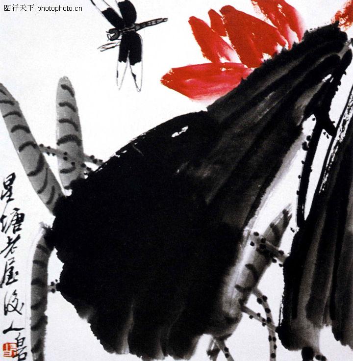 齐白石,中国近代大师名画,蜻蜓 荷花 池塘,墨荷蜻蜓