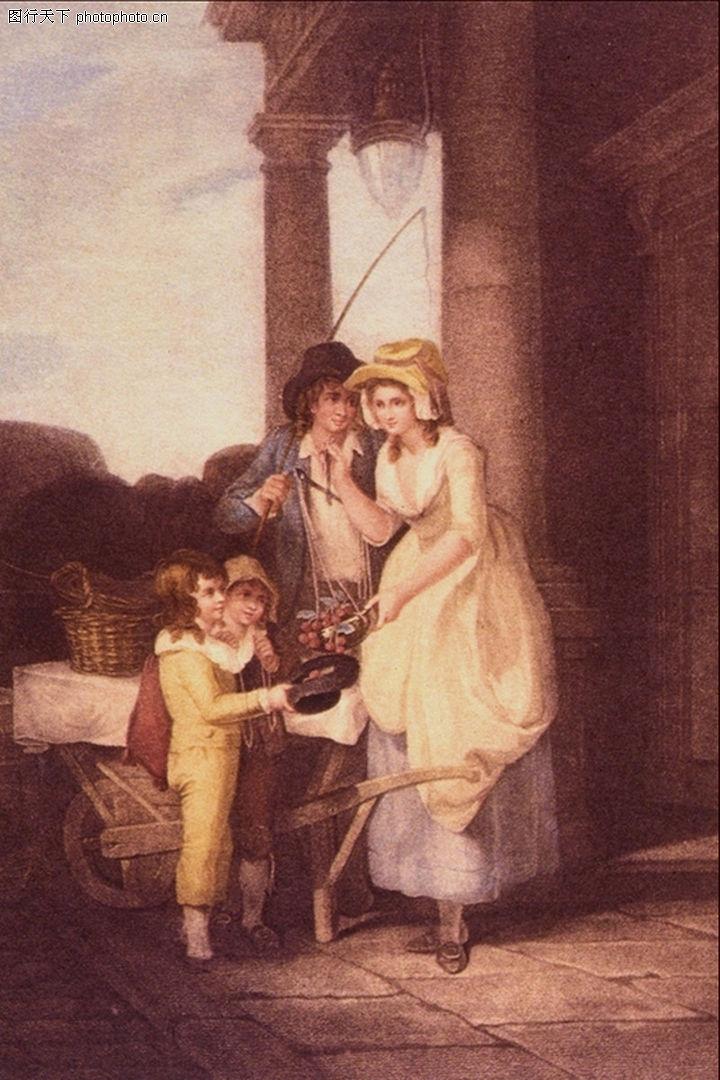 人物油画,国外传世名画,小孩 石柱 国外传世名画,人物油画0030