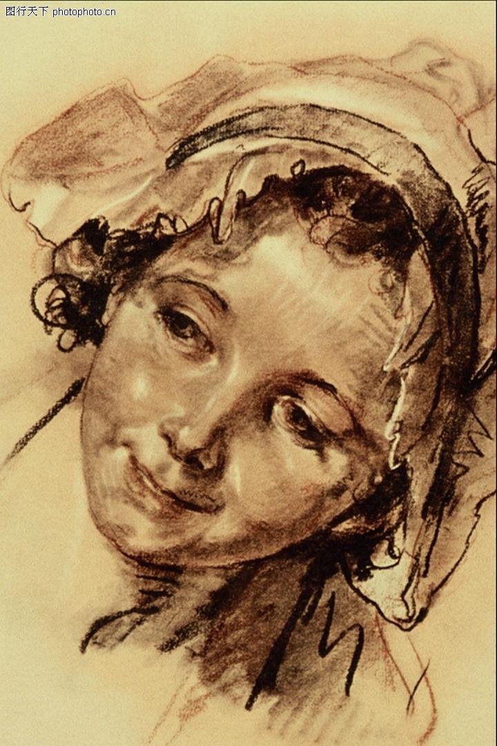 人物素描,国外传世名画,素描 头巾 偏头,人物素描0010