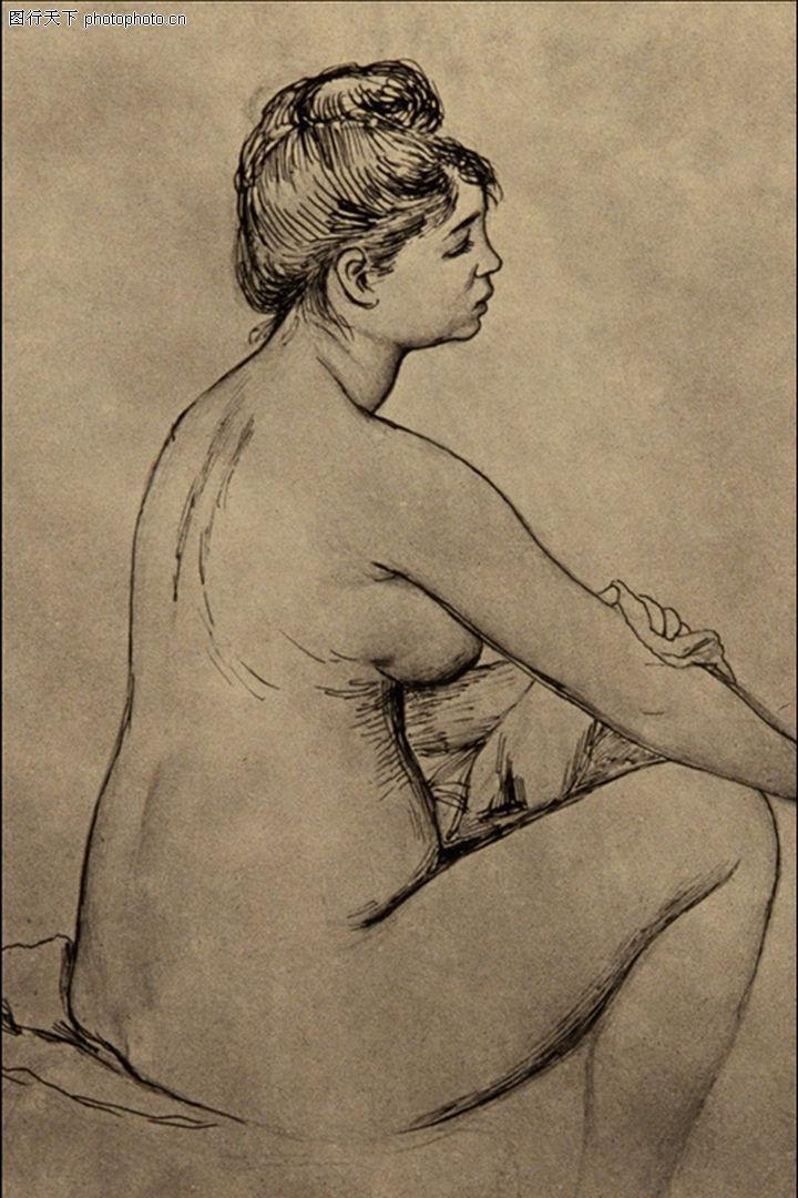 人物素描,国外传世名画,女子 模特 素描,人物素描0021
