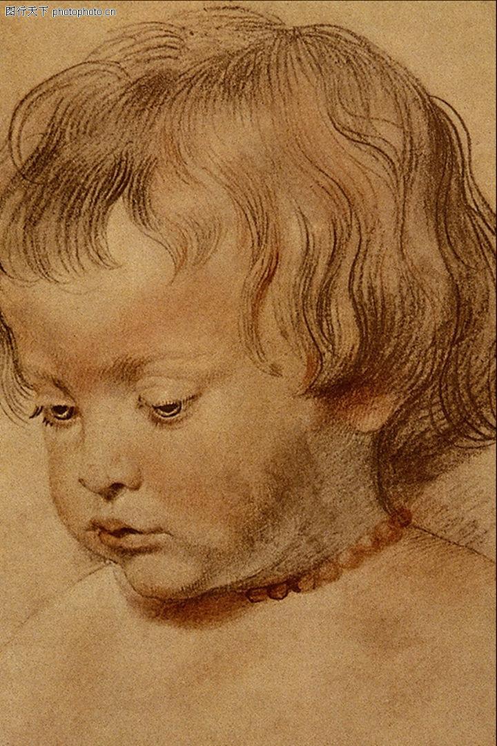 人物素描,国外传世名画,小孩子 表情 项链,人物素描0030