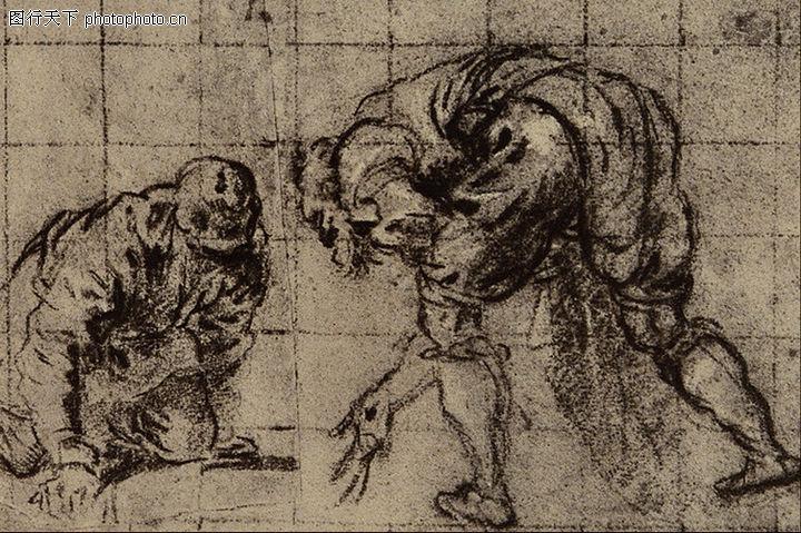 人物素描,国外传世名画,人物素描0087