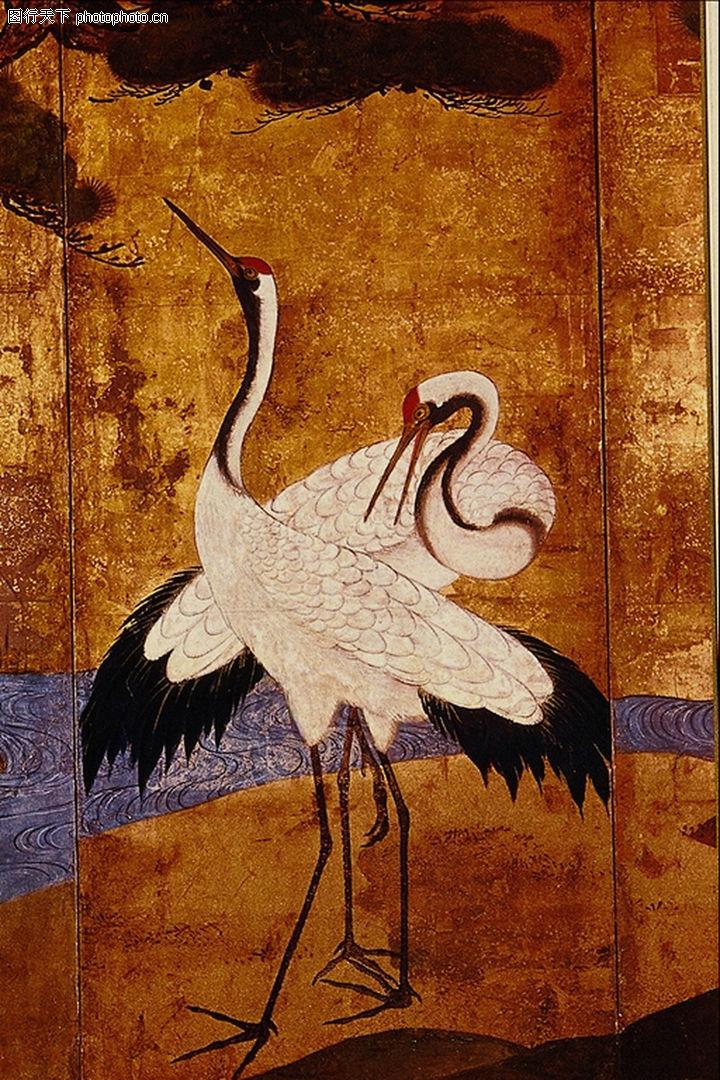 日本名画,国外传世名画,两只仙鹤 交叉站立,日本名画0038