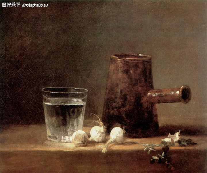静物油画,国外传世名画,水杯 大蒜 静物,静物油画0013