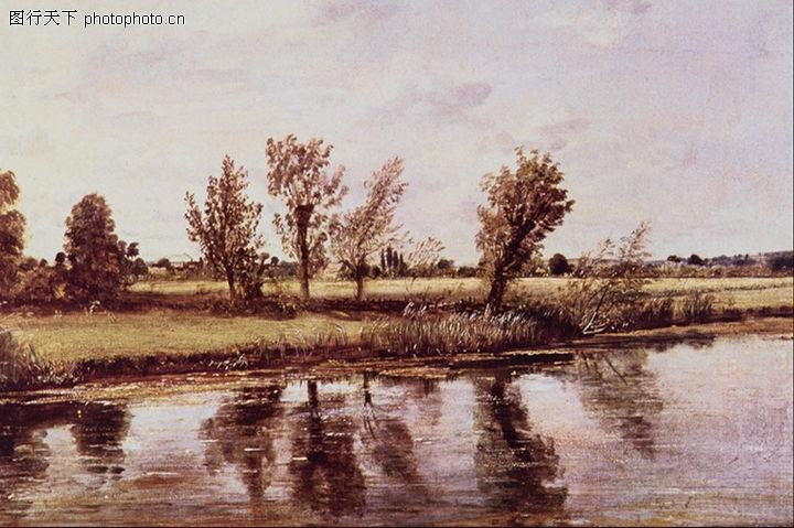 风景油画,国外传世名画,荒滩 野草丛 矮树,风景油画0173