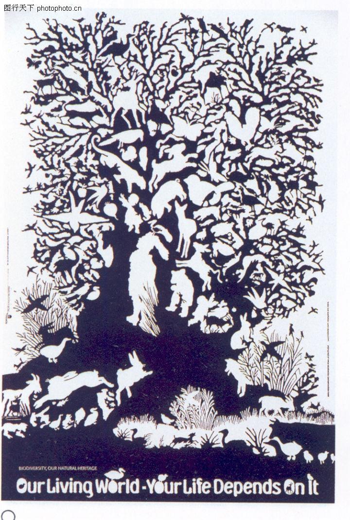创意空间,广告设计定位,大树 黑白 动物,创意空间0040