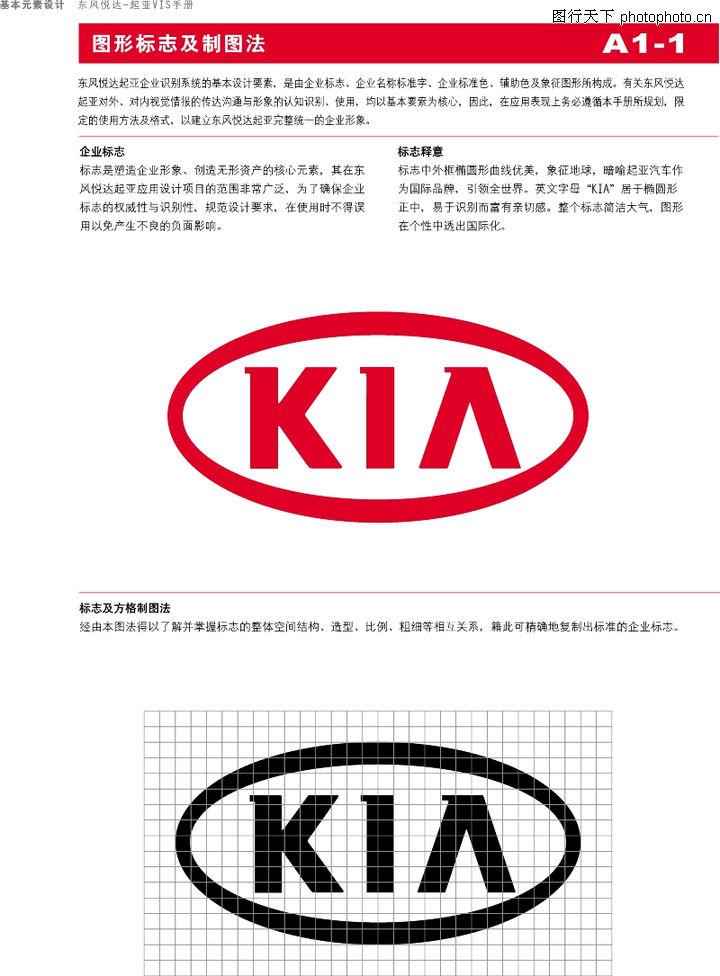 东风悦达起亚 整套vi矢量素材 方格制图 企业标志 标志释义