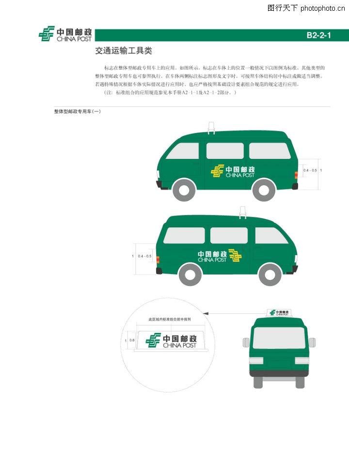 中国邮政,整套vi矢量素材,交通工具 运输 车身,整体型邮政专用车一
