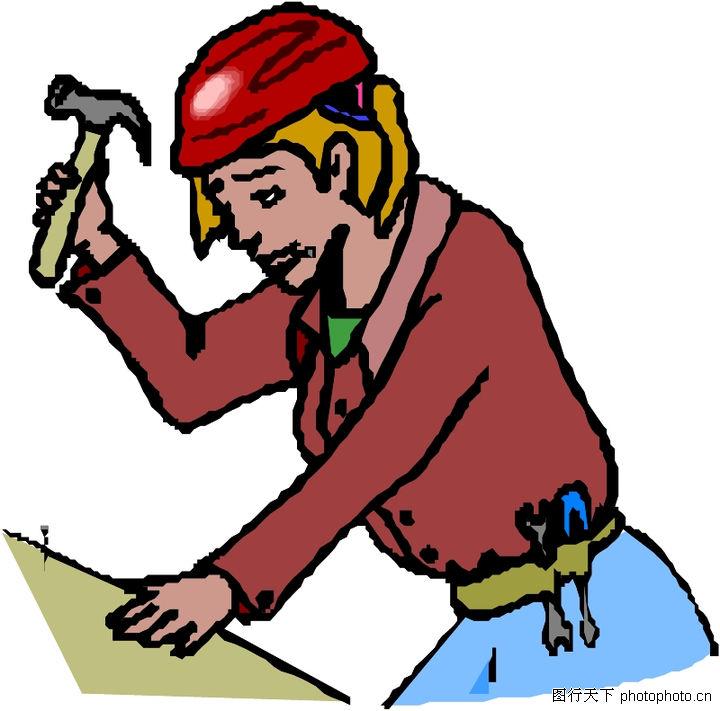 工作女性 人物 锤子 钉钉子 安全帽
