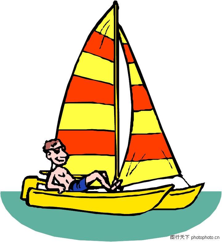 海上帆船简笔画彩色