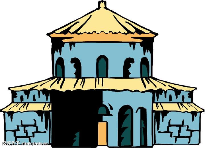 卡通建筑,名胜地理,卡通建筑0618