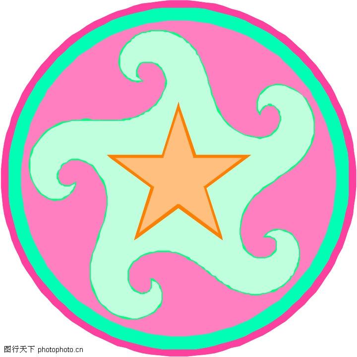 圆形形图案,微章图案,圆形图案 五角星,圆形形图案0051
