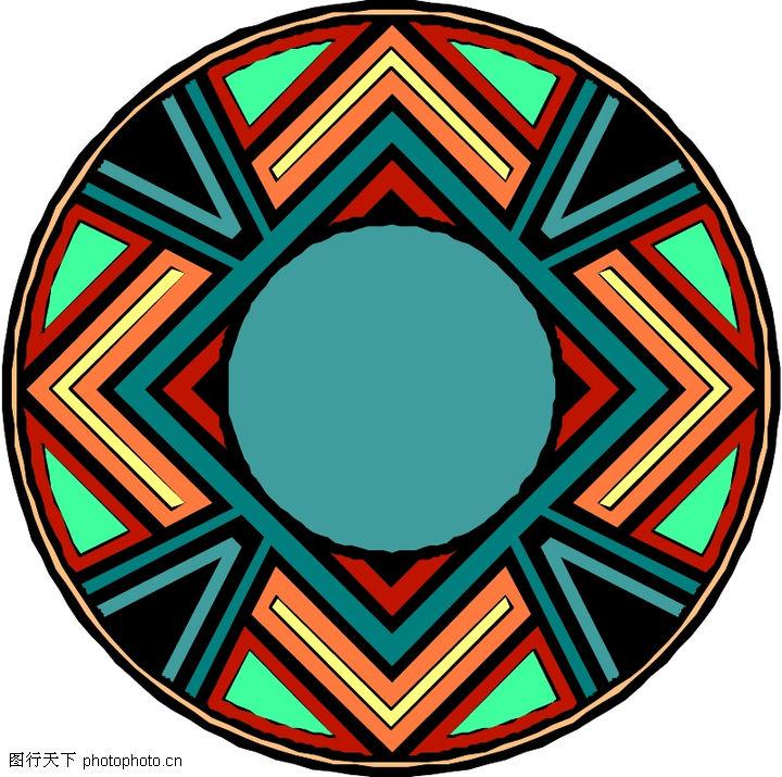 圆形形图案,微章图案,印度风可知,圆形形图案0059
