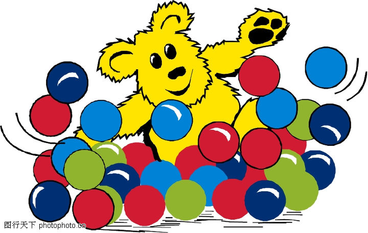 动物拟人化卡通,拟人卡通,一堆彩球,动物拟人化卡通0032