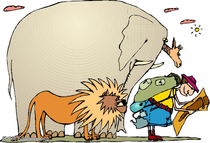 动物拟人化卡通,拟人卡通,大象 狮子 旅游者,动物拟人化卡通0043