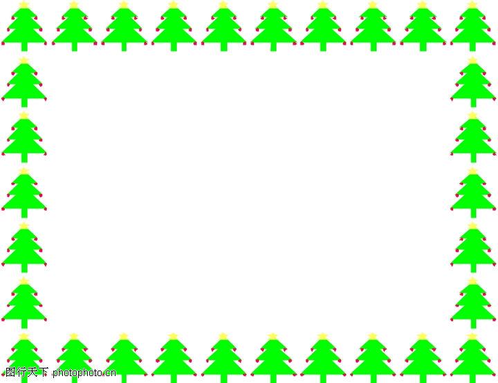 边框背景,小树方框