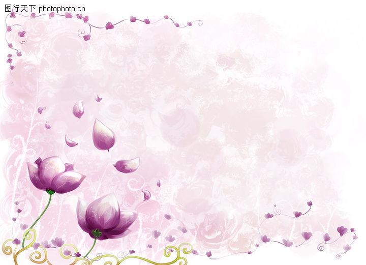 修饰背景,彩绘人物情景模板,点缀 荷花 紫红 心形 浪漫,修饰背景0017