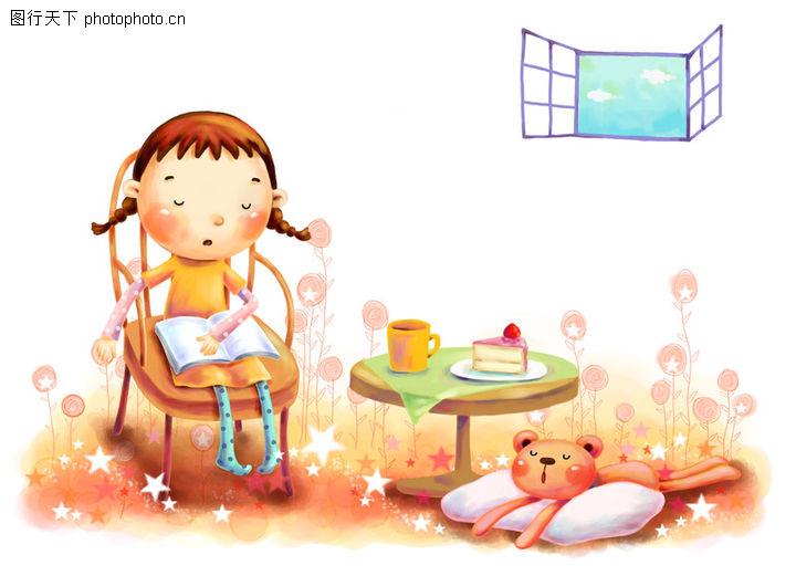 儿童成长 彩绘人物情景模板