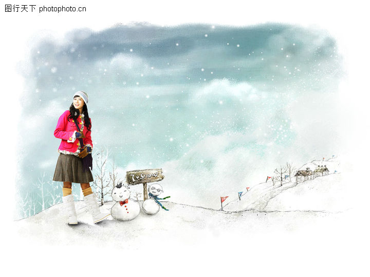 可爱小仙子,彩绘人物情景模板,冬天 下雪 雪人 雪山 路牌,可爱小仙子