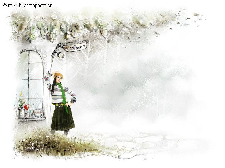 可爱小仙子,彩绘人物情景模板,咖啡 大树 枝繁茂盛 pose 风情 风景