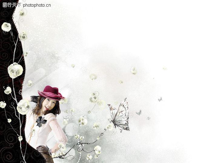 可爱小仙子,彩绘人物情景模板,帽子 鲜花 捕蝶,可爱小仙子0032