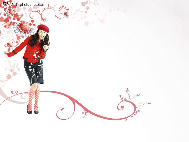 可爱小仙子,彩绘人物情景模板,冬装 弯腰 红帽子,可爱小仙子0046