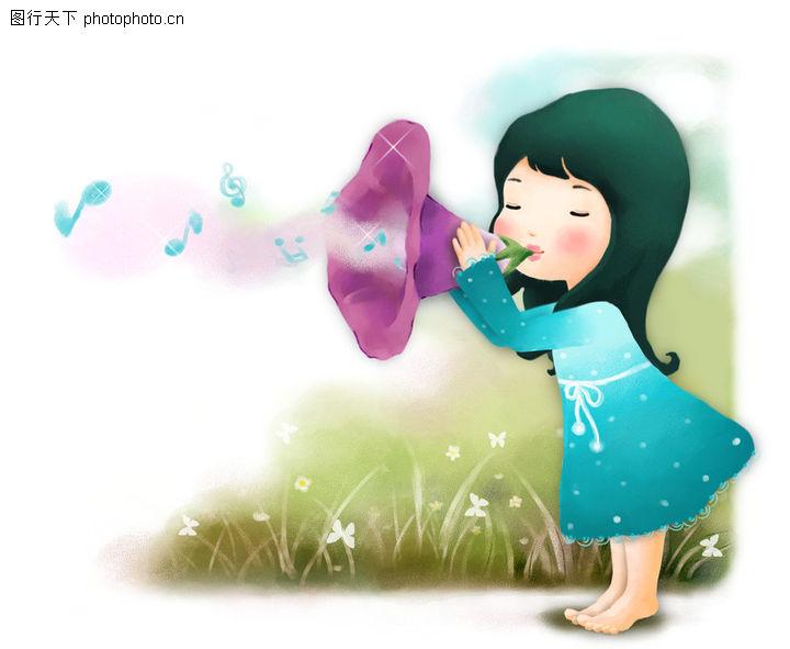 可爱小仙子,彩绘人物情景模板,女孩 吹喇叭 乐声,可爱小仙子0064